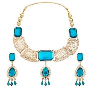 Princess Jasmine Crown Jewelry Set Necklace and Earings