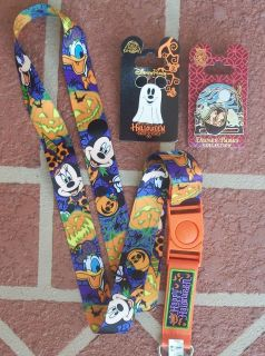 Disney Pins Halloween Lanyard Plus 2 Pins