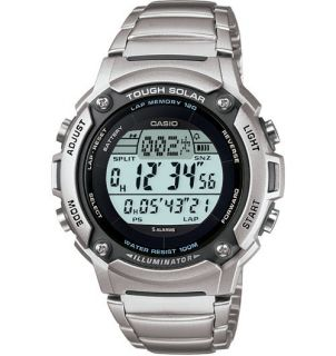 CASIO MENS TOUGH SOLAR 120 LAP MEMORY STAINLESS STEEL WATCH ALARM