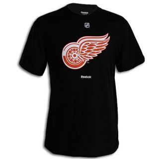 Detroit Red Wings Official NHL Winged Wheel Black T Shirt by Reebok