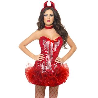 New Red Tutu Devil Halloween Gothic Fancy Dress Outfit Costume