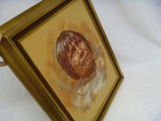 Leslie B DeMille Sepia Pastel Original Native American