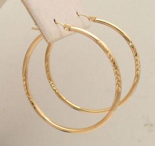 Diamond Cut Hoop Huggie Earrings 10K Yellow Gold 2