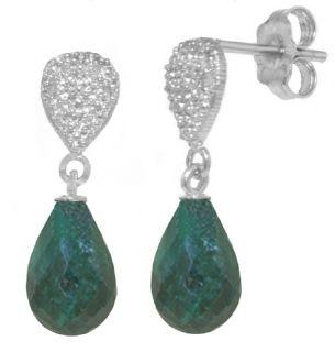 GENUINE EMERALD & DIAMOND DROP EARRINGS 14K. WHITE GOLD