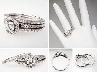 Diamond Halo Engagement Ring Wedding Set Solid 14k White Gold Estate