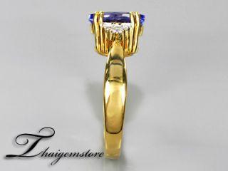 91ct AAA Violet Blue Tanzanite 6pcs VS1 G Diamond 22K Gold Ring