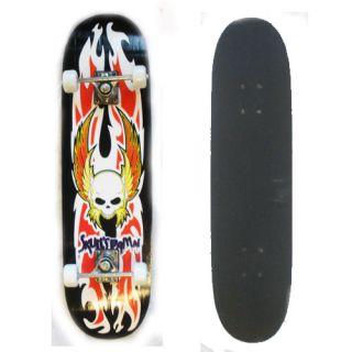 New Rex Distributors Flaming Skull Skateboard with Black Grip Tape