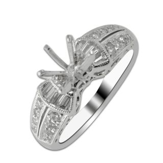 50cttw Natural White Diamond Semi Mount Ring in 14K White Gold