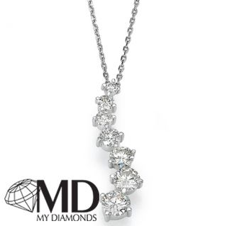 00 Ct White Gold 18K Diamond Journey Pendant Necklace