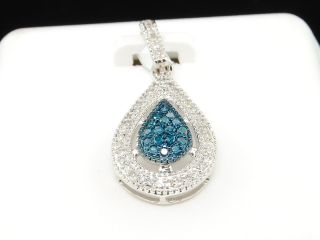 Gold Blue Diamond Teardrop Pendant Charm for Necklace 0 21 Ct