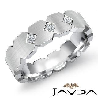 3Stone Princess Diamond Mens Solid Ring Half Wedding Band 14k Gold