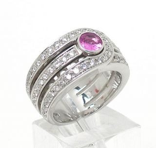 di modolo 18k white gold pink sapphire diamonds ring