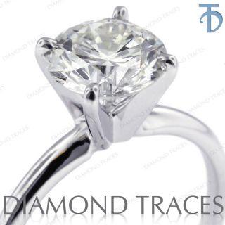 Round E SI2 Diamond 14k White Gold Classic Solitaire Ring 2.9gm