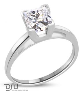 02 Ct E SI2 Princess Diamond Solitaire Ring 14k w Gold