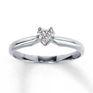 Diamond Solitaire Ring 1 4 carat Heart shaped 14K White Gold