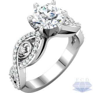 00CT TW ROUND BRILLIANT Diamond Engagement Ring   14K White Gold