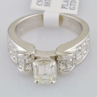 Diamond Engagement Ring 2 58 Carat Emerald Cut Platinum Setting VVS2