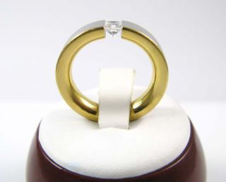 Mens Ladies Platinum 18K Gold Diamond Comfort Band Ring