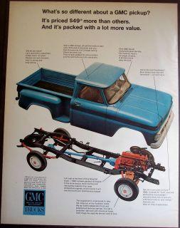 Blue GMC Pickup Truck Original Vintage 1966 Ad