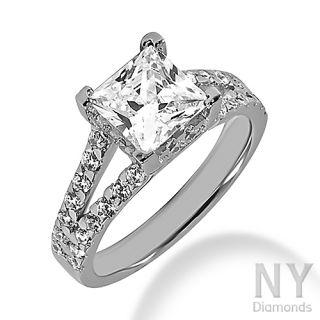 WHITE GOLD I COLOR PRINCESS CUT DIAMOND ENGAGEMENT RING 1.5CT