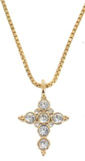 VINTAGE NAPIER GOLD TONE CRYSTAL FAUX DIAMOND CROSS NECKLACE 16