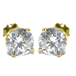 Brilliant Round Cut Diamond Stud Earrings 14k Yellow Gold SI3