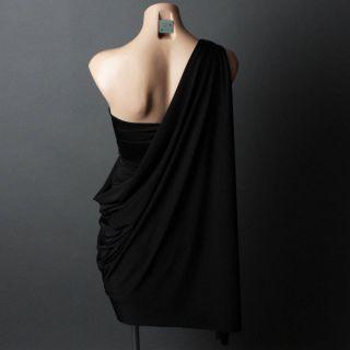 Black Evening Goddess One Shoulder Strapless Formal Toga Prom Dress