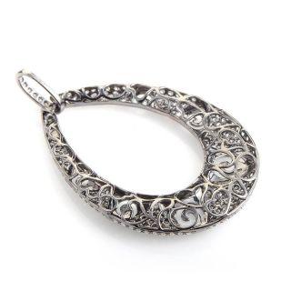 18K White Gold Diamond Set Teardrop Chainless Pendant
