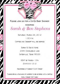 24 Zebra Print Pink Diaper Baby Shower Invitations