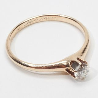 Antique Deco Diamond Solitaire Gold Engagement Ring Vintage Estate Old