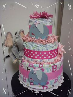 ELEPHANT 3 tier diaper cake great baby shower centerpiece, gift Jungle