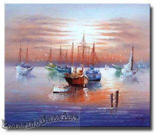 Old Fishing Village Boats Docks Pier Seascape Art Oil Painting on