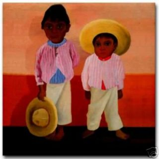 Diego Rivera Mexican Ceramic Art Tile Hijos Compadre