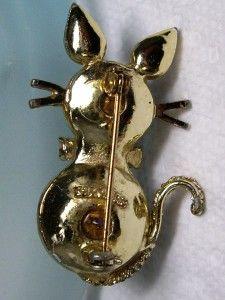 Vintage Dodds Amethyst Purple Glass Rhinestone Kitty Cat Pin Brooch 1