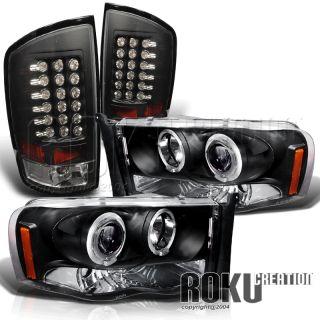 02 05 Dodge RAM 1500 Blk Projector Head Lights LED Tail
