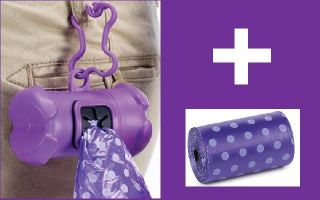 Pet Dog Waste Bag Holder with 4 Rolls of Puppy Poop Bags Refill Purple