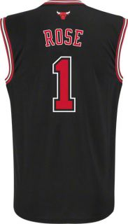 Derrick Rose Jersey Adidas Revolution 30 Black Replica 1 Chicago Bulls