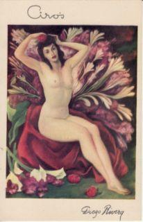 Artist Signed Diego Rivera Spikenards Pinup Postcard