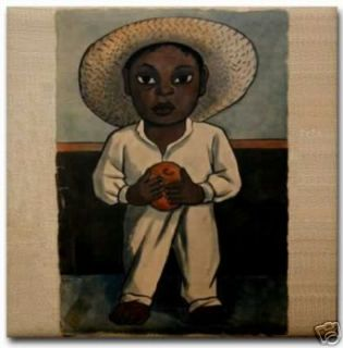Diego Rivera Ceramic Art Tile Mexican Indian Boy Hat