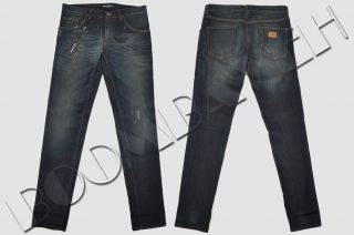 Dolce Gabbana 14 Gold Skinny 17cm Faded Dark Blue Stretch Jeans FW2012
