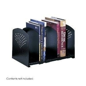 Slot Adjustable Book Rack Paper File Desk Organizer Black Metal