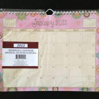 2013 Spiral Wall Desk Pad Scheduling Monthly Calendar planner