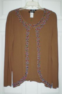 10 Dolce Cabo Twin Knit Beaded Top Jacket Set NWTS