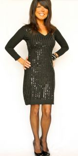 Dillards Isabella Rodriguez Sequin Sexy Black Sweater Dress 3 4