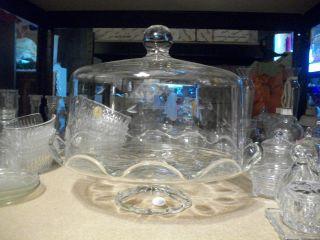 ... Princess House Crystal Heritage Cake Plate w Dome ... & Vintage Princess House Crystal Lamp w Floral Pattern 24 Lead Crystal