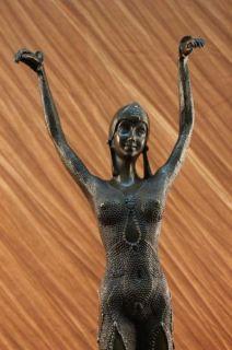 25 Tall Dimitri Chiparys Art Nouveau Deco Bronze Marble Sculpture