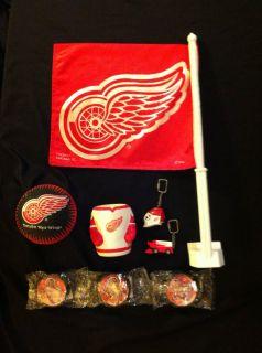 Detroit Red Wings Lot Flag Pucks Ball Jersey Koozie Goalie Mask
