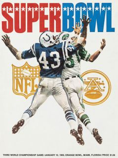 York Jets Super Bowl III Poster Baltimore Colts Joe Namath Don Maynard