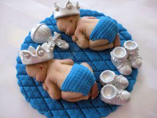 Twins Boy Cake Topper Baby Shower Prince Baptism Christening Favor