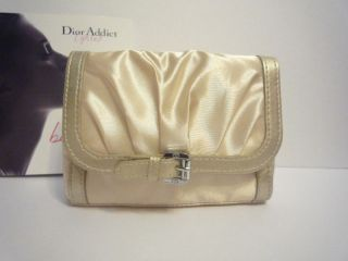New Christian Dior Gold Silk Makeup Cosmetic Bag Case